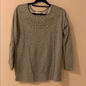 Bedazzled Gray Maternity Sweater